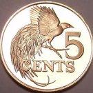 Rare Proof Trinidad & Tobago 1975 5 Cents~Bird Of Paradise~24k Minted~Free Ship