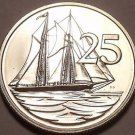 Rare Proof Cayman Islands 1973 25 Cents~Schooner~Only 9,988 Minted~Free Ship