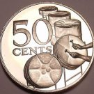 Rare Proof Trinidad & Tobago 1975 50 Cents~Drums~24,000 Minted~Free Shipping