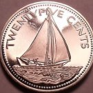 Rare Proof Bahamas 1976 25 Cents~Bahamian Sloop~23,000 Minted~Free Shipping