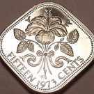Rare Proof Bahamas 1973 15 Cents~Triangle Coin~Hibiscus~35,000 Minted~Free Ship