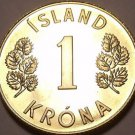 Rare Proof Iceland 1975 Krona~Only 15,000 Minted~Fantastic~Last Year~Free Ship