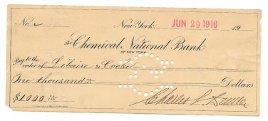 Chemical National Bank Of NY $1000.00 Check~June 29th 1910 Libaire & Cook~Fr/Sh