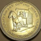 Unc Isle Of Man 1976 Crown~Horse Drawn Tram~Only 50,000 Minted~Free Shipping