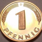 Cameo Proof Germany 1999-D Pfennig~Minted In Munich~70,000 Minted~Free Shi