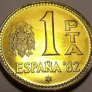 Gem Unc Spain 1980 (82) 1 Peseta~World Cup Soccer Games~Only Year Minted~Fr/Ship