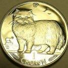 Large Gem Unc Isle Of Man 1989 Crown~Persian Cat~Fantastic~Free Shipping