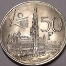 Gem Unc Silver Belgium 1958 50 Francs~The Worlds Fair Brussels~Free Shipping