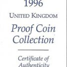 1996 Great Britain 9 Coin 2 Page C.O.A. Document Set~Free Shipping