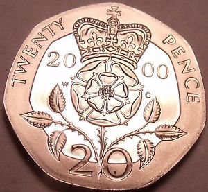 Cameo Proof Great Britain 2000 20 Pence~Only 100,000 Minted~Free Shipping