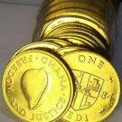 Gem Unc Roll (50 Coins) Ghana 1984 Cedi Coins~Cowie Shell~Free Shipping