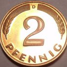 Cameo Proof Germany 1999-D 2 Pfennig~Minted In Munich~70,000 Minted~Free Shi