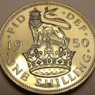 Rare Proof Great Britain 1950 Shilling~Only 18,000 Minted~English Crest~Free Shi