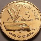 Gem Unc Guyana 2008 $5.00~Sugar Cane~Fantastic~Free Shipping
