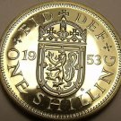 Rare Proof Great Britain 1953 Schilling~Only 40,000 Minted~Scottish Shield~Fr/Sh