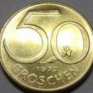 Proof Austria 1972 50 Groschen~80,000 Minted~Austrian Shield~Free Shipping