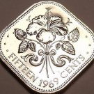 Rare Proof Bahamas 1969 15 Cents~Hibiscus~10,000 Minted~Triangle Coin~Free Ship