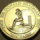 Large Unc Australia 2001 20 Cents~Sir Donald Bradman~Cricketer Champion~Free Shi
