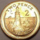 Large Gem Unc Gibraltar 2000 2 Pence~Lighthouse On Europa Pointe~Free Shipping