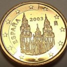 Gem Unc Spain 2003 1 Euro Cent~Cathedral of Santiago de Compostela~Free Shipping