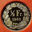 Rare Proof Switzerland 1983 1/2 Franc~Only 11,000 Minted~Helvetia~Free Shipping