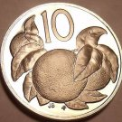 Rare Cameo Proof Cook Islands 1973 10 Cents~Orange Tree~13,000 Minted~Free Ship
