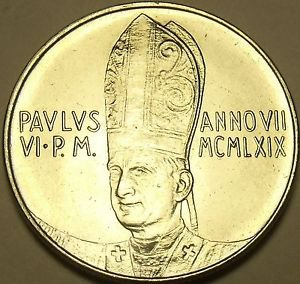 Rare Vatican 1969 F.A.O. Lira~100,000 Minted~Angel In Flight~Free Shipping