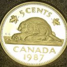 Cameo Proof Canada 1987 Beaver Nickel~179,004 Minted~Free Shipping