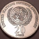 Unc Australia 1995 20 Cents~50th Anniversary United Nations~Elizabeth II~Fr/Ship