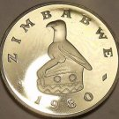 Rare Proof Zimbabwe 1980 5 Cents~Bird Statue~Hare~15,000 Minted~Free Shipping