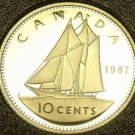 Cameo Proof Canada 1987 10 Cents~179,004 Minted~Bluenose~Free Shipping