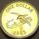 Rare Proof Bermuda 1983 Dollar~Bird Flying Over Bermuda~6,474 Minted~Free Ship