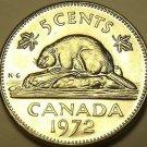 Gem Unc Canada 1972 5 Cents~Beaver Nickel~Free Shipping