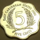 Rare Proof East Caribbean States 1986 5 Cents~Only 2,500 Minted~Free Shipping