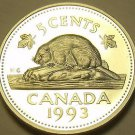 Cameo Proof Canada 1993 5 Cents~Beaver Nickel~143,065 Minted~Free Shipping