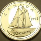 Cameo Proof Canada 1993 10 Cents~Bluenose~143,065 Minted~Free Shipping