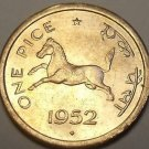 Gem Unc India 1952 Pice~Horse~Equus caballus Equidae~Awesome~Free Shipping