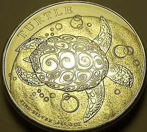 Gem Unc Silver Niue 2015 $5.00~Turtle~2 oz Silver Coin~Excellent~Free Shipping