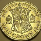 Gem Unc Large Silver Great Britain 1943 Half Crown~Fantastic~Free Shipping