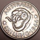 Gem Unc Silver Australia 1944-S Shilling~Rams Head~Awesome~Free Shipping