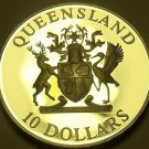 Rare Silver Proof Australia Queensland 1989 $10.00~Only 48,573 Minted~Free Ship