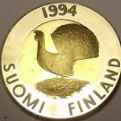 Rare Bi-Metal Proof Finland 1994 10 Markka~Capercaillie Bird~5,000 Minted~Fr/Shi