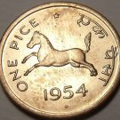 Unc India 1954 Pice~Horse~Equus Caballus Equidae~Awesome~Free Shipping