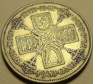 Silver Great Britain 1931 Florin~Cross Of Crowned Sceptres~Free Shipping*