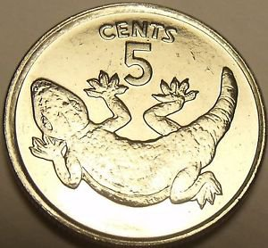 Gem Unc Kiribati 1979 5 Cents~1st Year Of Coinage~Stump Tailed Gecko~Awesome~F/S