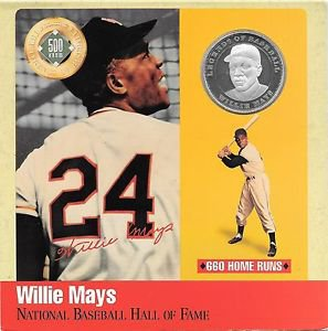 Rare .999 Silver Proof Willie Mays 500 Club Cooperstown Commemorative~Free Shi