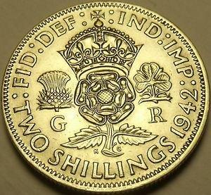 Unc Silver Great Britain 1942 2 Shillings~Crowned Tudor Rose~Shamrock~Free Ship