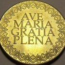 Huge 33.8mm Solid Brass Notre Dame Cathedral Paris Medallion~Ave Maria~Free Ship