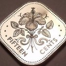 Rare Proof Bahamas 1975 15 Cents~Triangle Coin~Hibiscus~29,000 Minted~Free Ship