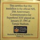 Super Bowl 25 Tampa Official Gem Unc Medallion~Giants Over Bills~COA~Free Ship